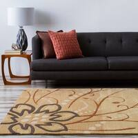 Hand-tufted Whispy Floral Beige Floral Wool Area Rug - 5' x 8'
