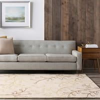 Hand-tufted Pussywillow Sand Floral Wool Area Rug - 5' x 8'