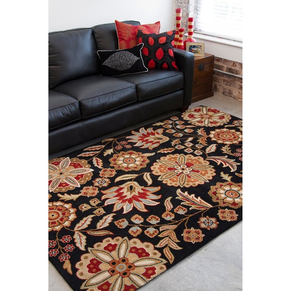 Hand-tufted FallFloral Jet Black Wool Area Rug - 5' x 8'
