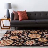 Hand-tufted FallFloral Jet Black Wool Area Rug (5' x 8') - 5' x 8'