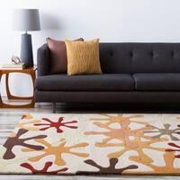 Hand-tufted Paintburst Safari Beige Wool Area Rug - 5' x 8'