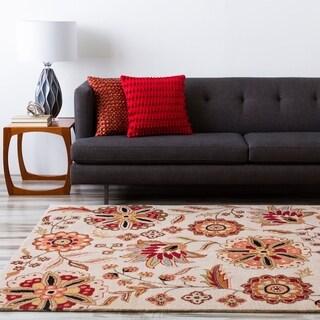 Hand-tufted Warm Floral Safari Beige Floral Wool Rug (5' x 8')