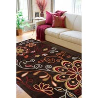 Hand-tufted Mod Floral Chocolate Brown Wool Area Rug - 5' x 8'