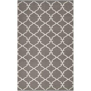 Hand-woven Overcast Trellis Grey Brown Wool Rug (2' x 3')