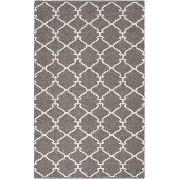 Hand-woven Overcast Trellis Grey Brown Wool Rug (8' x 11')