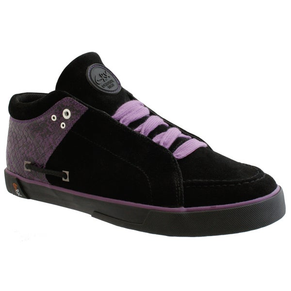GBX Men's Black and Purple Suede Sneakers