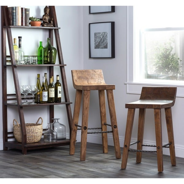 Tam Rustic Natural Wood 30-inch Barstool by Kosas Home