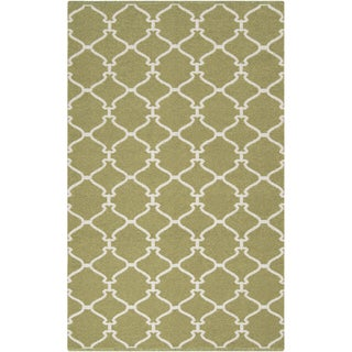 Hand-woven Celery Trellis Fern Green Wool Rug (8' x 11')