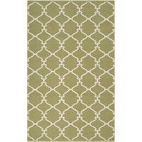 Hand-woven Celery Trellis Fern Green Wool Area Rug - 8' x 11'