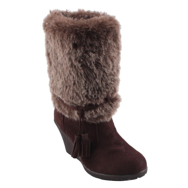 Dreams by Beston Women's 'Alaskaa' Mid-Calf Wedge Boots