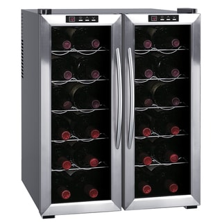 SPT WC-2461H Stainless Steel 24-Bottle Double-Door Dual-Zone Thermo-Electric Wine Cooler with Heating