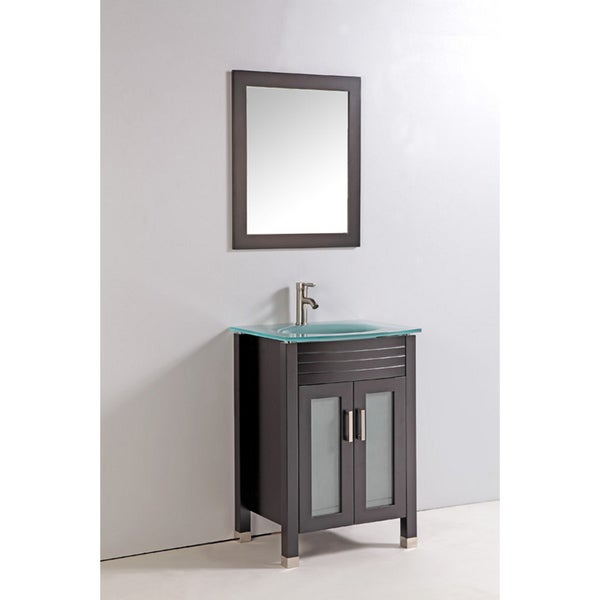 tempered glass top 24 inch single sink bathroom vanity with mirror and