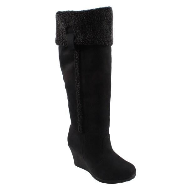 Dreams by Beston Women's 'Arizona' Black Wedge Boots