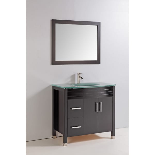 Tempered Glass Top 36 Inch Single Sink Bathroom Vanity With Mirror And Faucet Free Shipping