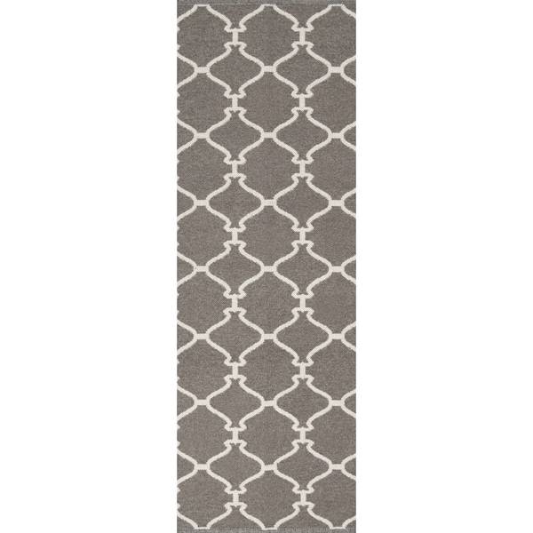 Hand-woven Overcast Trellis Grey Brown Wool Rug (2'6 x 8')