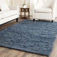 Safavieh Hand-knotted Vegetable Dye Chunky Dark Blue Hemp Rug (8' x 10') - 8' x 10'