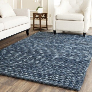 Safavieh Hand-knotted Vegetable Dye Chunky Dark Blue Hemp Rug (8' x 10')