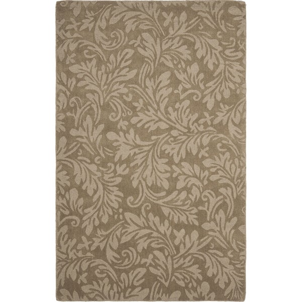 Safavieh Handmade Fern Scrolls Brown New Zealand Wool Rug - 7'6 x 9'6