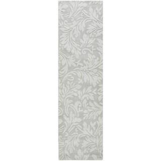 Safavieh Handmade Fern Scrolls Grey New Zealand Wool Rug (2' 3 x 8')