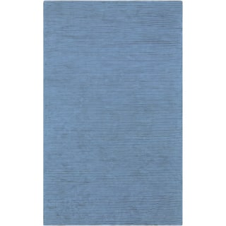 Hand-crafted Blue Solid Casual Essex Rug (8' x 11')