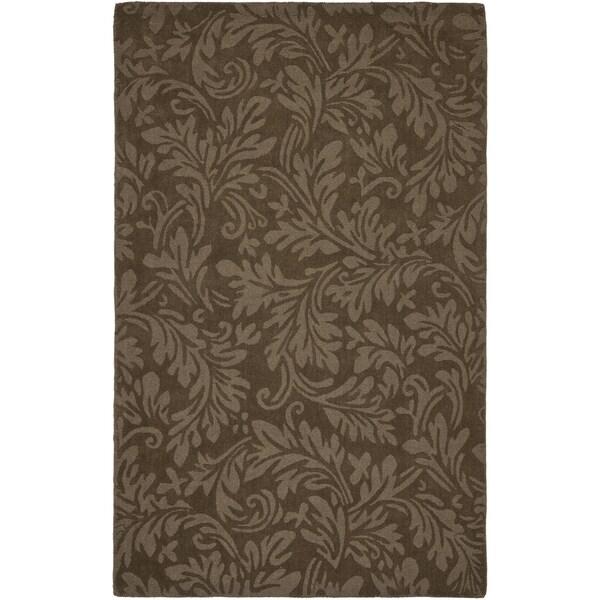 Safavieh Handmade Fern Scrolls Light Brown New Zealand Wool Rug (7' 6 x 9' 6 )