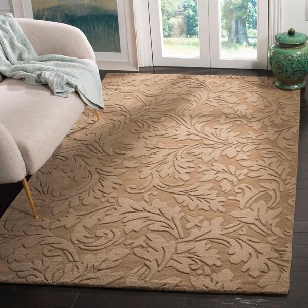 Safavieh Handmade Fern Scrolls Light Brown New Zealand Wool Rug - 7'6 x 9'6