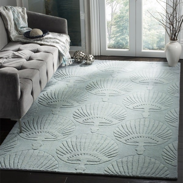 Safavieh Handmade Sea Shells Grey New Zealand Wool Rug (7' 6 x 9' 6 )