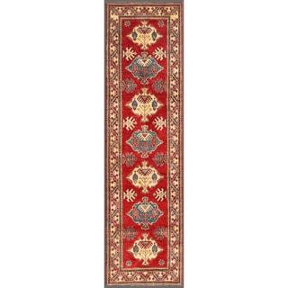 Herat Oriental Afghan Hand-knotted Kazak Red/ Ivory Wool Rug (2'9 x 10'2)