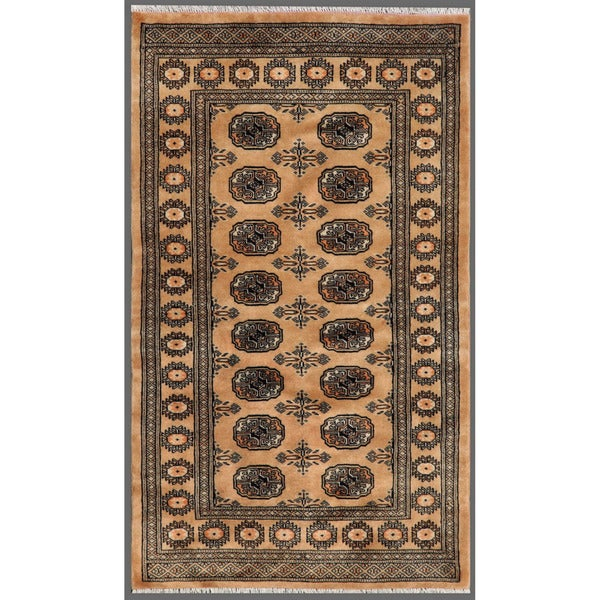 Pakistani Hand-knotted Bokhara Beige/ Black Wool Rug (3' x 5'1)