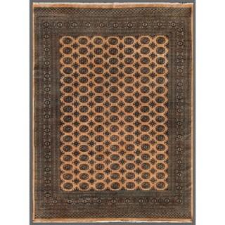 Handmade Pakistani Bokhara Beige/ Black Wool Rug - 7'11 x 10'4 (Pakistan)