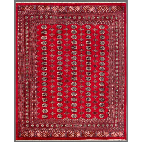 Pakistani Hand-knotted Bokhara Red/ Ivory Wool Rug (8'2 x 9'9)
