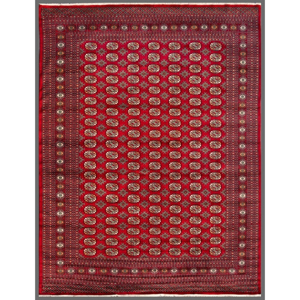 Pakistani Hand-knotted Bokhara Red/ Ivory Wool Rug (7'10 x 10')