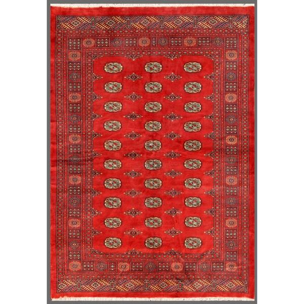 Pakistani Hand-knotted Bokhara Red/ Ivory Wool Rug (5'6 x 7'10)