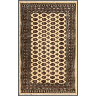 Herat Oriental Pakistani Hand-knotted Bokhara Wool Rug (5'1 x 8')|https://ak1.ostkcdn.com/images/products/7645849/7645849/Pakistani-Hand-knotted-Bokhara-Beige-Black-Wool-Rug-51-x-8-P15062173.jpeg?impolicy=medium