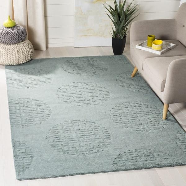 Safavieh Handmade Circ Grey New Zealand Wool Rug (7' 6 x 9' 6 )