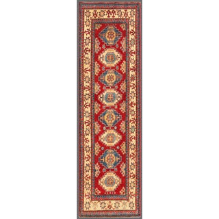Herat Oriental Afghan Hand-knotted Kazak Red/ Ivory Wool Rug (2'9 x 9'9)
