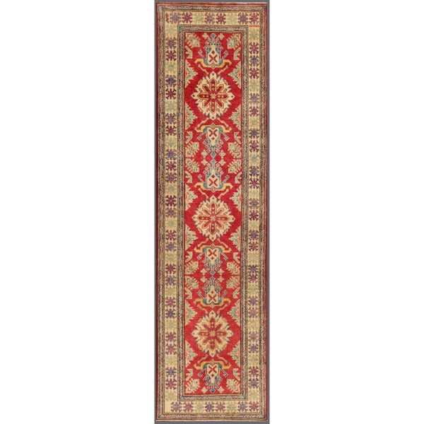 Afghan Hand-knotted Kazak Red/ Ivory Wool Rug (2'8 x 10'2)
