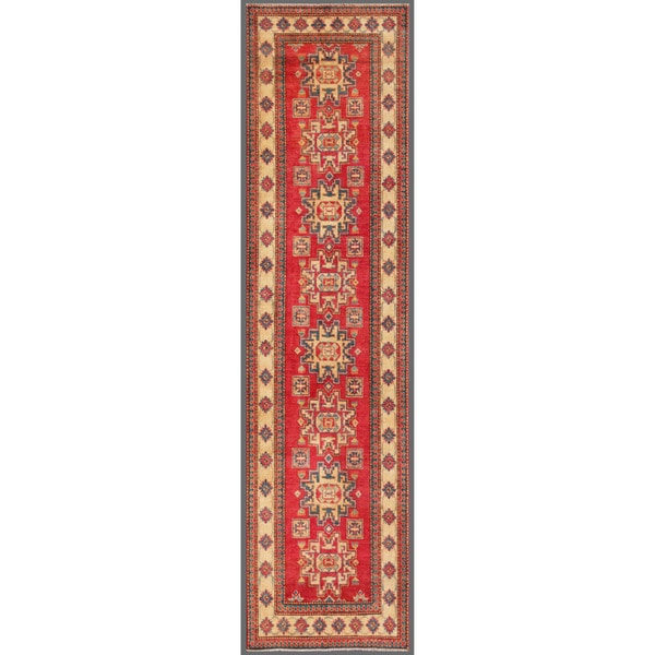"""Long Afghan Hand-Knotted Kazak Red/Ivory Wool Rug (2'10"""" x 11'4"""")"""