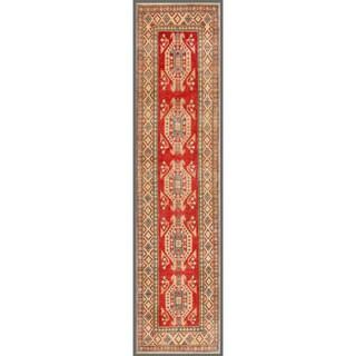 Herat Oriental Afghan Hand-knotted Kazak Red/ Ivory Wool Rug (2'8 x 10'11)