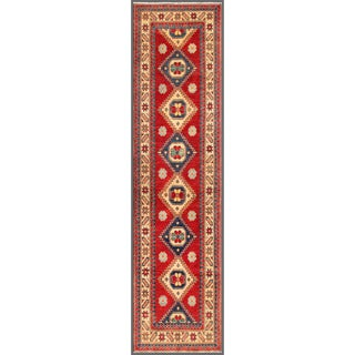 Herat Oriental Afghan Hand-knotted Kazak Red/ Ivory Wool Rug (2'7 x 10'6)