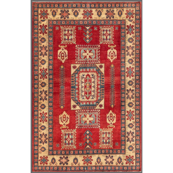 Afghan Hand-knotted Kazak Red/ Ivory Wool Rug (7'6 x 11'8)