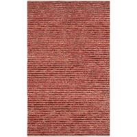 Safavieh Hand-knotted Vegetable Dye Chunky Red Hemp Rug (5' x 8') - 5' x 8'