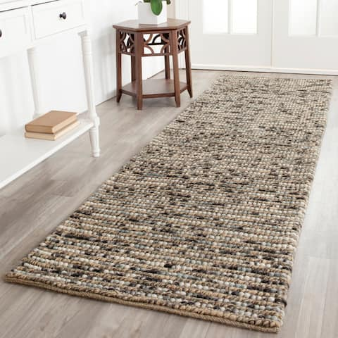 "Safavieh Hand-knotted Vegetable Dye Chunky Grey Blue Hemp Rug - 2'6"" x 8'"