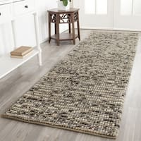 "Safavieh Hand-knotted Vegetable Dye Chunky Grey Blue Hemp Rug (2' 6 x 8') - 2'6"" x 8'"