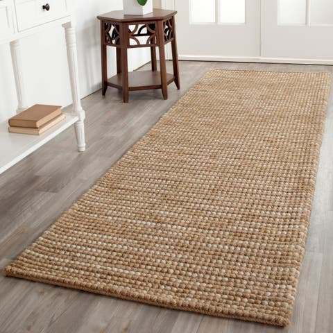 "Safavieh Hand-knotted Vegetable Dye Chunky Beige Hemp Rug - 2'6"" x 8'"