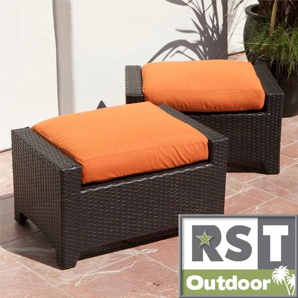 RST Outdoor Tikka Patio Furniture Club Ottomans (Set Of 2)