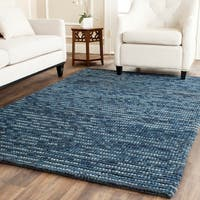 Safavieh Hand-knotted Vegetable Dye Chunky Dark Blue Hemp Rug - 5' x 8'