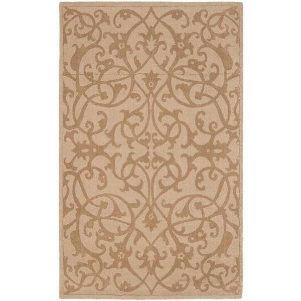 Safavieh Handmade Irongate Scrolls Light Brown New Zealand Wool Rug - 7'6 x 9'6