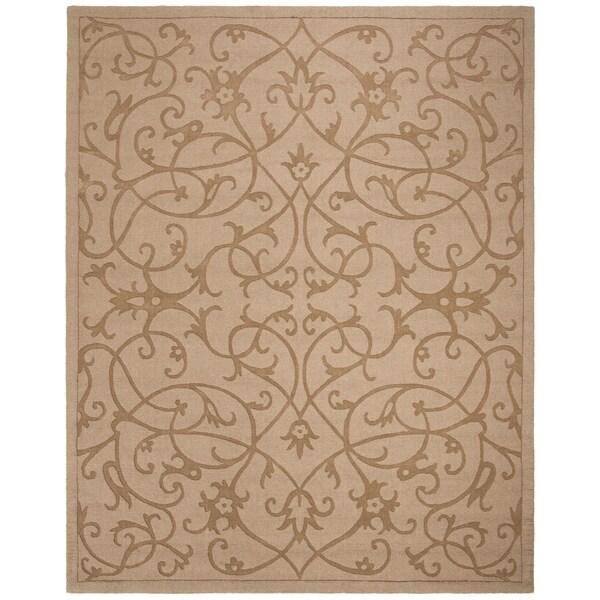 "Safavieh Handmade Irongate Scrolls Light Brown New Zealand Wool Rug - 7'6"" x 9'6"""