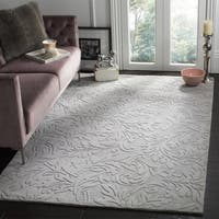 Safavieh Handmade Fern Scrolls Grey New Zealand Wool Rug - 6' Square
